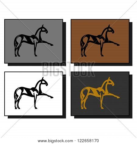 The logo of the equestrian sport. The image of a walking horse. Four sample characters vector.