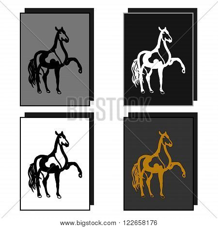 The logo of the equestrian sport. The image of a walking horse. Four sample characters vector