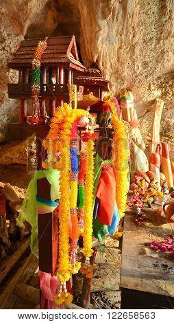 KRABI THAILAND - March 19 2015: Festival in Phra Nang Shrine Temple located in Cave