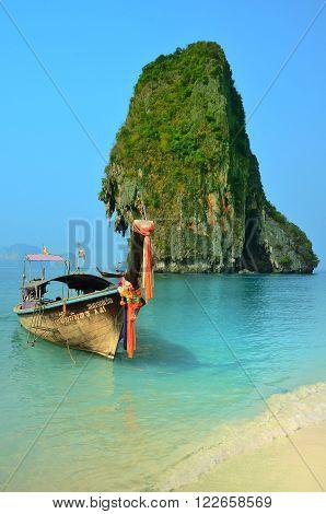 KRABI, THAILAND - March 20, 2015: Boat near Ko Rang Nok Island Krabi