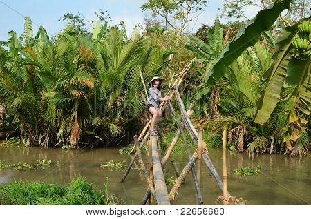 Woman on monkey bridge in Can Tho Vietnam ** Note: Soft Focus at 100%, best at smaller sizes