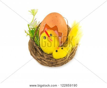 Easter decoration: hen with chicken in the nest isolated over white.