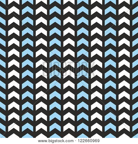 Tile vector pattern with blue and white zig zag print on black background