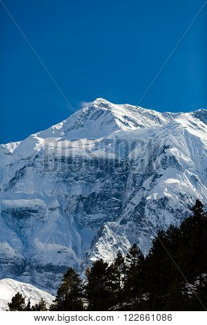 Inspirational Landscape in Himalaya Mountains. Annapurna Himal Range on Annapurna Circuit Trek, Beautiful Mountains and Views in Nepal, Asia