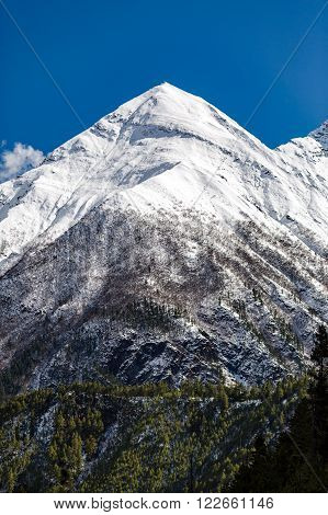 Inspirational Landscape in Himalaya Mountains. Annapurna Himal Range on Annapurna Circuit Trek Beautiful Mountains and Views in Nepal Asia