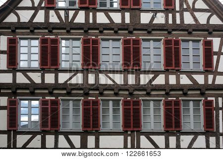 BAD URACH, GERMANY - OCTOBER 21: Half-timbered old house in Tubingen, Germany on October 21, 2014.