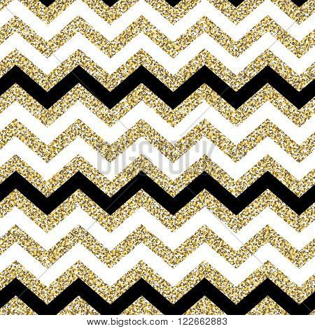 Chevron seamless pattern. Glittering golden surface. Raster version.