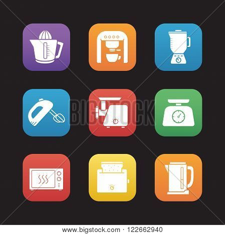 Kitchen electronics flat design icons set. White goods and cooking equipment. Kitchenware appliances. Toaster and meat grinder, juicer, mixer and blender. Web store product categories buttons. Vector
