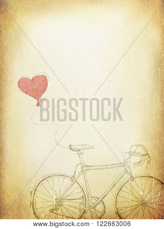 Vintage Valentines Illustration with Bicycle and Heart Baloon. Aged. Raster version.