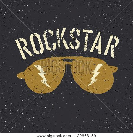 Sunglasses with thunderbolt. Rockstar tee print design template. Raster version.
