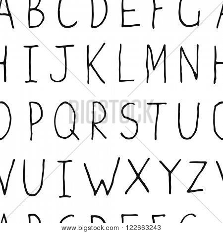 Hand-drawn Uppercase Alphabet on white background. Seamless pattern of hand-drawn letters. Raster version.