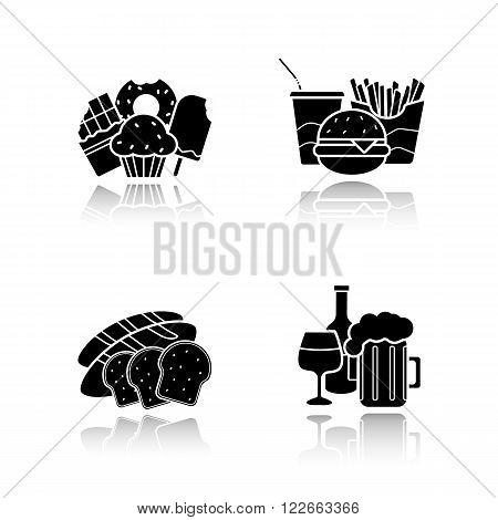 Food and drinks drop shadow icons set. Confectionery sweets, fast food, sliced bread, beer glass and wine bottle. Unhealthy nutrition and beverages cast shadow logo concepts. Vector illustrations
