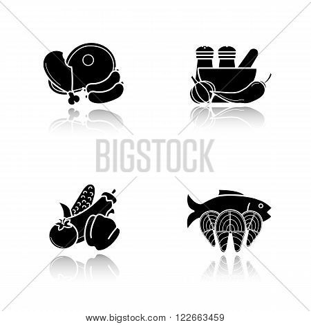 Dish ingredients drop shadow icons set. Food products for cooking. Meat products, mortar and pestle with spices, vegetables and tuna fish fillet. Cast shadow logo concepts. Vector black illustrations