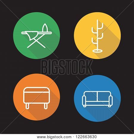 Furniture flat linear icons set. Ottoman furniture, ironing board, hanger stand and couch symbols. Home interior. Long shadow outline logo concepts. Vector line art illustrations