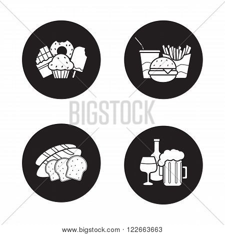 Food and drinks black icons set. Sweets, sliced bread, beer glass and wine bottle. Pub and bakery signs. Confectionery shop and fast food restaurant logo concepts. Vector silhouettes illustrations