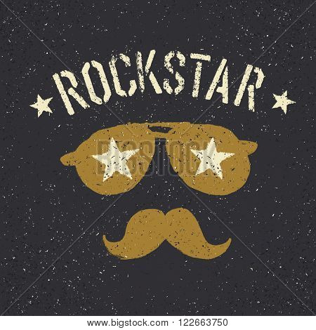 Rockstar. Sunglasses with stars and moustache with lettering. Tee print design template. Raster version.