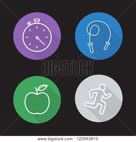 Diet and exercises flat linear icons set. Stopwatch, skipping-rope, apple and fitness symbols. Lose weight workout. Long shadow outline logo concepts. Vector line art illustrations