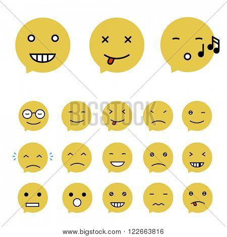 Emoticons Collection. Set of Emoji. Flat style. Different Emoticons. Raster version.