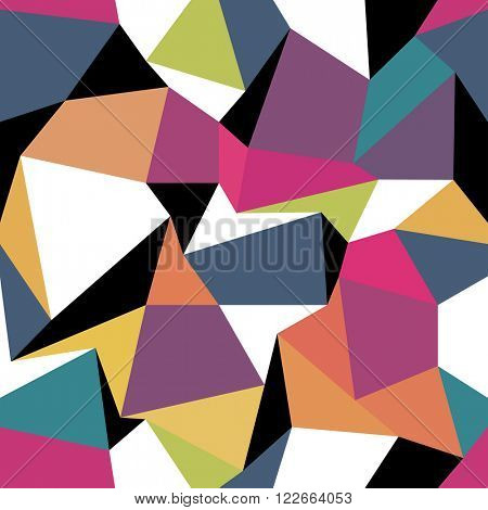 Colorful abstract triangles. Seamless abstract geometric pattern. Raster version.