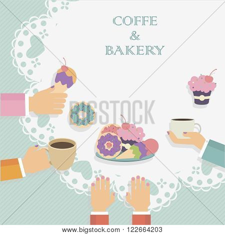 Vector image illustrated people sitting around the table eating sweets and drinking coffee