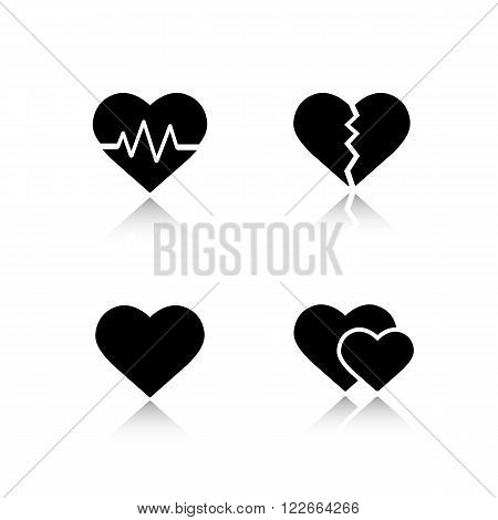 Heart shapes drop shadow icons set. Cardiology clinic cast shadow logo concepts. Heartbeat rhythm, broken heart, love sign and romantic relationship symbol. Vector black silhouette illustrations