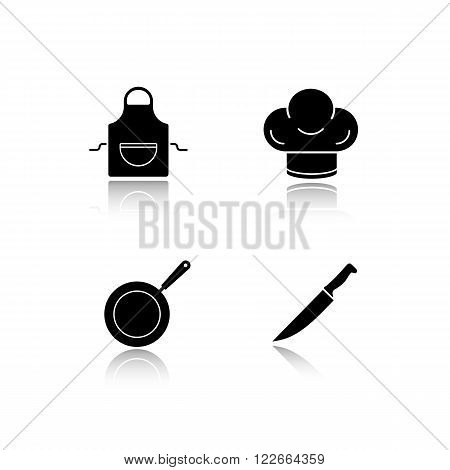 Restaurant kitchen cooking equipment drop shadow icons set. Chefs hat and frying pan, cutlery knife and domestic apron. Cast shadow kitchenware logo concepts. Vector black silhouette illustrations