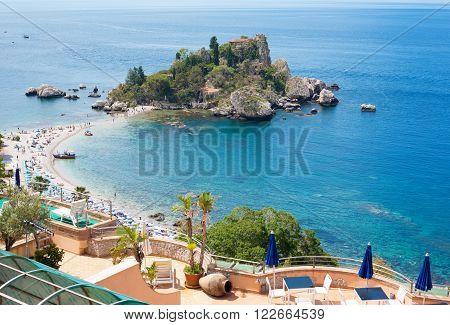 View of Isola Bella island in Taormina