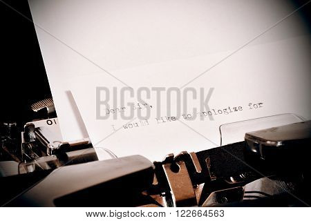 Letter with a title Dear Sir typed on old typewriter