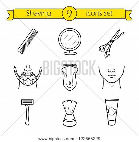 Shaving linear icons set. Barber shop. Electric shaver, scissors and comb, facial hair care equipment, after shave cream and table mirror thin line illustrations. Vector isolated outline drawings