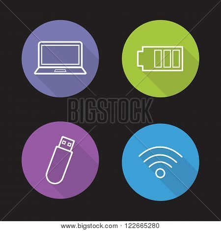 Computer electronics flat linear icons set. Usb stick and laptop. Battery charge level and wi-fi signal symbols. Computing devices. Long shadow outline logo concepts. Vector line art illustrations