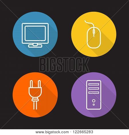 Computer electronics flat linear icons set. Desktop pc monitor and system unit, lcd tv. Computer mouse and power socket plug. Long shadow outline symbols. Vector line art illustrations