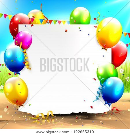 Colorful balloons and empty paper in front of summer landscape - Summer party background