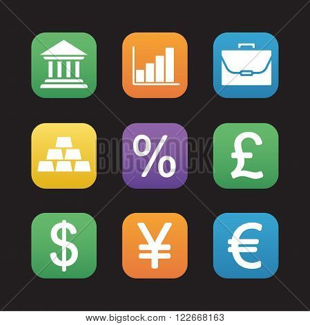 Finance and banking flat design icons set. Trading and stock market web application interface. Deposit chart, exchange rates, gold bars and currency signs. Portfolio and earnings growth graph. Vector