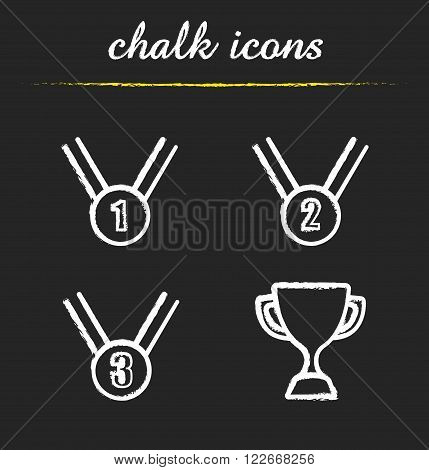 Award chalk icons set. First, second, third place medals and winner cup. Competition awarding ceremony equipment symbols. White illustrations on blackboard. Vector chalkboard logo concepts