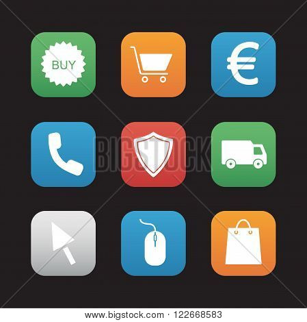 Online store flat design icons set. Web shop application interface. Business and marketing. Shopping bag and delivery van. Euro sign and buy badge. Security shield and mouse click symbols.Vector