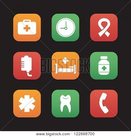 Hospital flat design icons set. Medical healthcare center. First aid medicine chest, drop counter and dentist tooth symbol. Ambulance star of life and aids ribbon. Web application interface. Vector