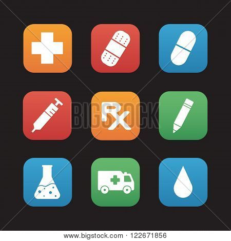 Medical center flat design icons set. Hospital  website interface. Clinic laboratory and pharmacy items. Ambulance and first aid emergency help. Medicine prescription rx symbol. Vector