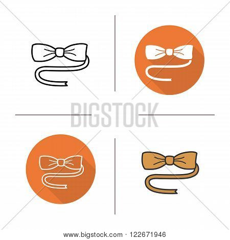 Butterfly tie flat design, linear and color icons set. Bow tie symbol. Elegance tuxedo necktie. Men's fashion accessory item. Contour and long shadow logo concepts. Isolated vector illustartions