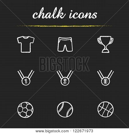 Sport equipment chalk icons set. Shorts and t-shirt. Award ceremony items. Winner cup and medals. Soccer, basketball and tennis balls. White illustration on blackboard. Vector chalkboard logo concepts