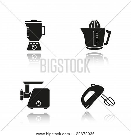 Kitchen tools drop shadow black icons set. Logo concepts. Multi speed blender, meat-mincer, hand mixer and juicer symbols. Kitchenware electronic items. Cooking equipment. Vector illustrations