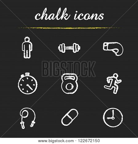 Sport chalk icons set. Gym dumbbell, stopwatch, skipping rope, boxing glove and running man. Active lifestyle and workout symbols. White illustrations on blackboard. Vector chalkboard logo concepts