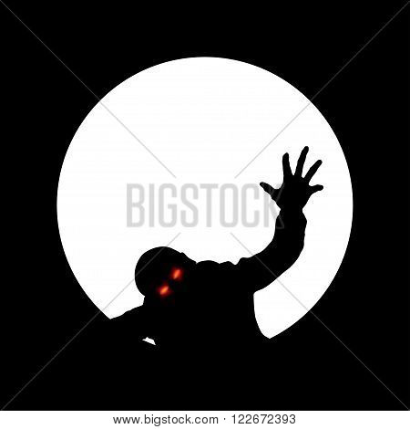 illustration of zombie with red eyes crawling in the pipe