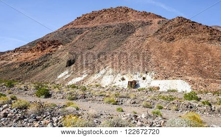 A view of Warm Spring No 6 talc mining site in Warm Springs Canyon, Death Valley National Park.