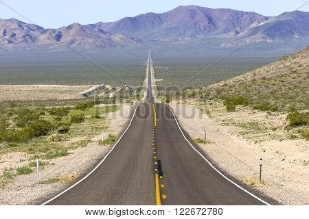 A panoramic view of State Route 374 runing from Beatty Nevada to Death Valley, California