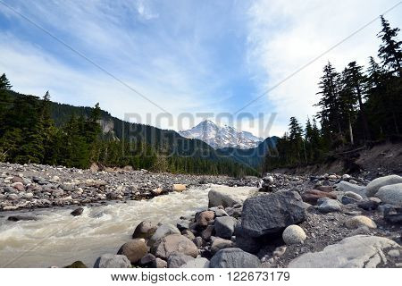 View of rock river in front of mount rainier national park USA
