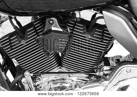 Motor bike detail engine black and white background