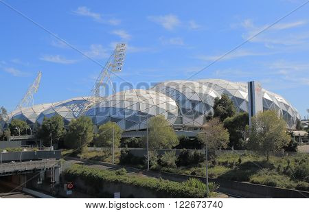 MELBOURNE AUSTRALIA - MARCH 20, 2016: AAMI park sport stadium. AAMI Park is Melbourne's first large purpose-built rectangular stadium was built in 2010.