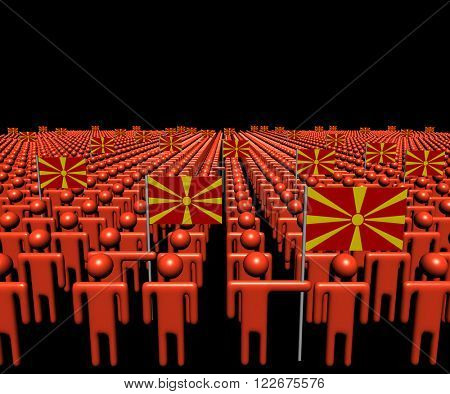 Crowd of abstract people with many Macedonian flags illustration