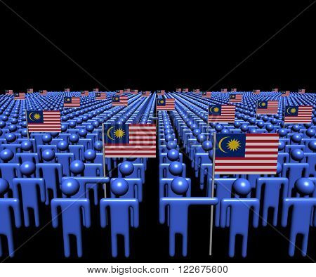 Crowd of abstract people with many Malaysian flags illustration