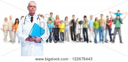 Senior doctor and people group.